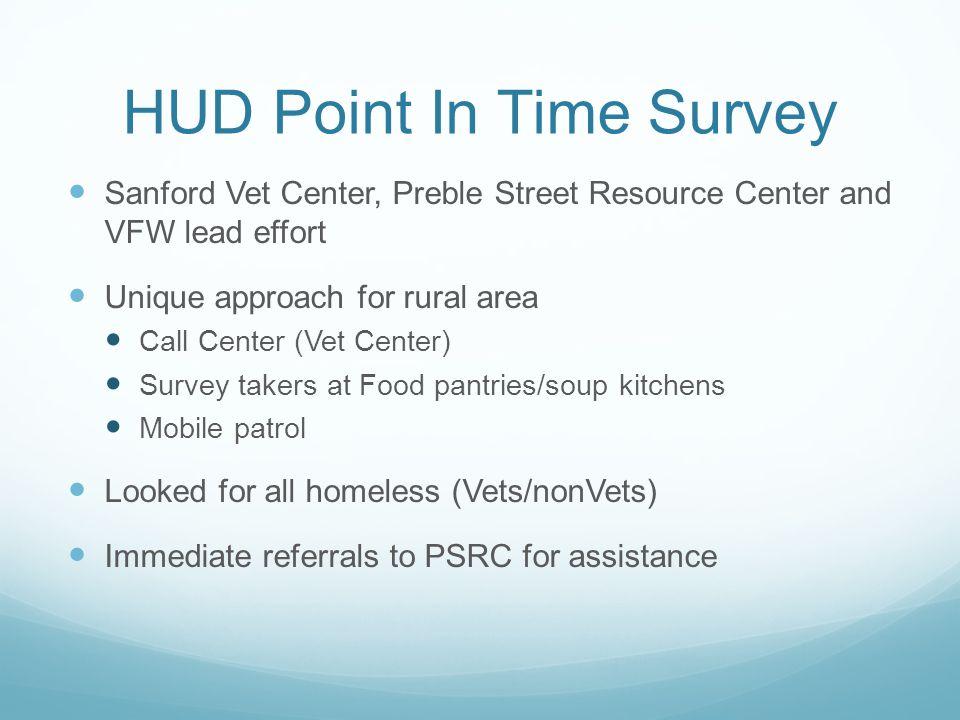 HUD Point In Time Survey Sanford Vet Center, Preble Street Resource Center and VFW lead effort Unique approach for rural area Call Center (Vet Center)