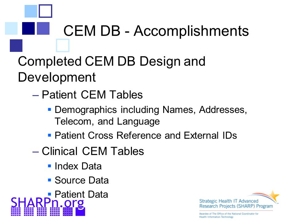 CEM DB - Accomplishments Completed CEM DB Design and Development –Patient CEM Tables  Demographics including Names, Addresses, Telecom, and Language  Patient Cross Reference and External IDs –Clinical CEM Tables  Index Data  Source Data  Patient Data