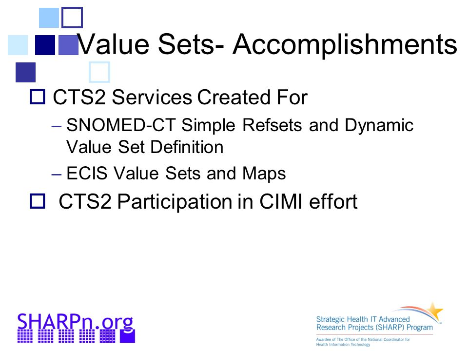 Value Sets- Accomplishments  CTS2 Services Created For –SNOMED-CT Simple Refsets and Dynamic Value Set Definition –ECIS Value Sets and Maps  CTS2 Participation in CIMI effort