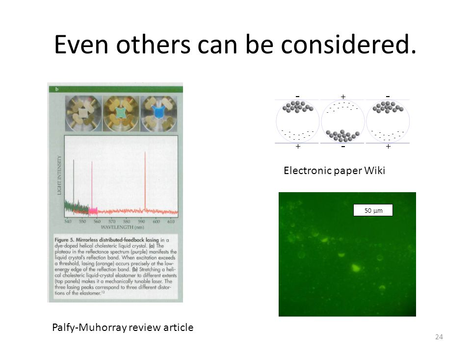 Even others can be considered. Electronic paper Wiki Palfy-Muhorray review article 24 50  m