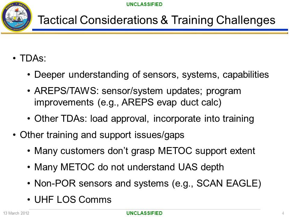 UNCLASSIFIED Tactical Considerations & Training Challenges 13 March 20124 UNCLASSIFIED TDAs: Deeper understanding of sensors, systems, capabilities AR