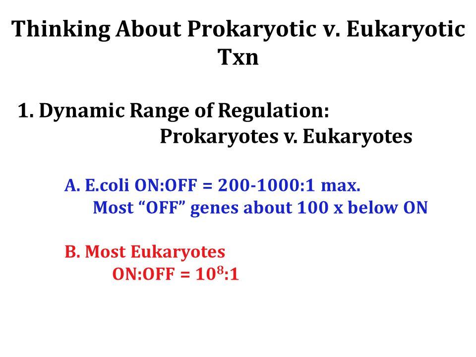 Thinking About Prokaryotic v.Eukaryotic Txn 1. Dynamic Range of Regulation: Prokaryotes v.