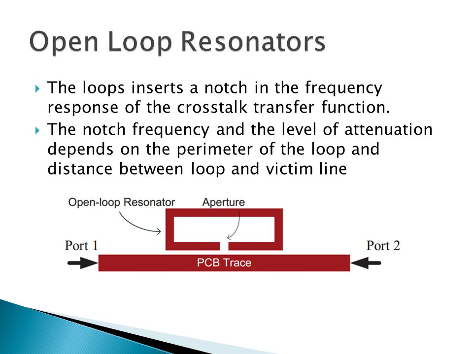  This technique has no negative affects on the signal trace unlike other filter and shielding techniques in use today  The smaller the perimeter of the loop the higher in frequency the notch will occur.