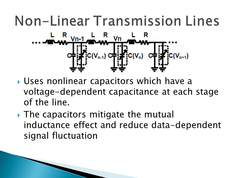  Uses nonlinear capacitors which have a voltage-dependent capacitance at each stage of the line.