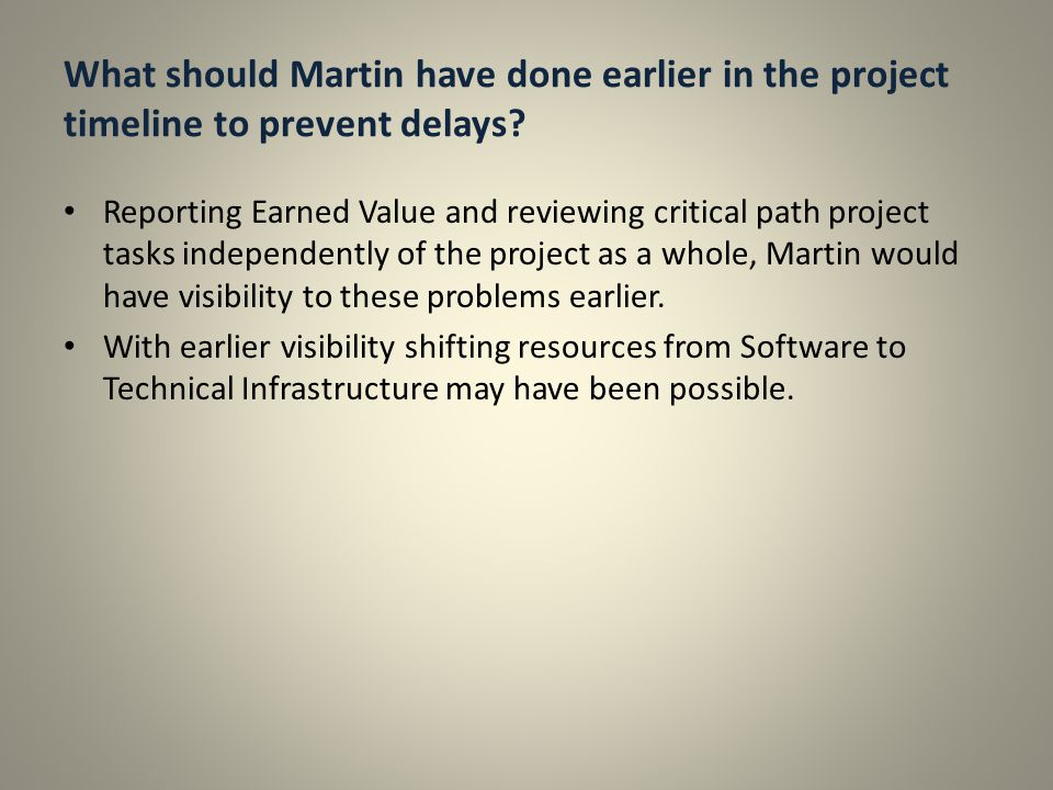 What should Martin have done earlier in the project timeline to prevent delays.