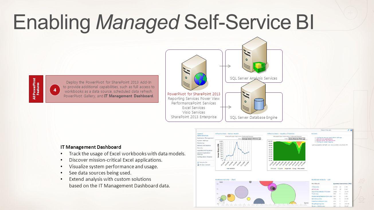 SQL Server Database Engine SQL Server Analysis Services PowerPivot for SharePoint 2013 Reporting Services Power View PerformancePoint Services Excel S
