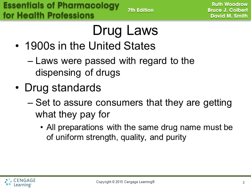 Copyright © 2015 Cengage Learning® Drug Laws 1900s in the United States –Laws were passed with regard to the dispensing of drugs Drug standards –Set t