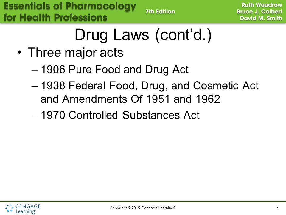 Copyright © 2015 Cengage Learning® Drug Laws (cont'd.) Three major acts –1906 Pure Food and Drug Act –1938 Federal Food, Drug, and Cosmetic Act and Am