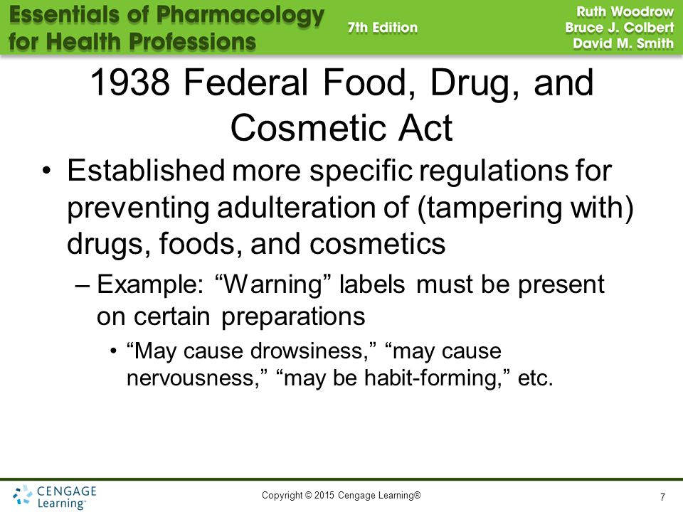 Copyright © 2015 Cengage Learning® 1938 Federal Food, Drug, and Cosmetic Act Established more specific regulations for preventing adulteration of (tam