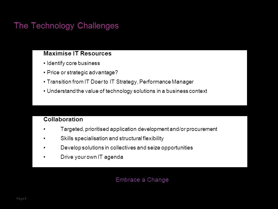 The Technology Challenges Maximise IT Resources Identify core business Price or strategic advantage.