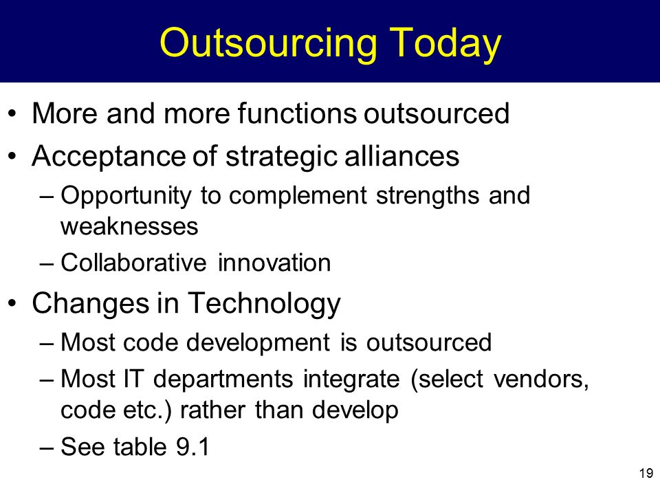 19 Outsourcing Today More and more functions outsourced Acceptance of strategic alliances –Opportunity to complement strengths and weaknesses –Collabo