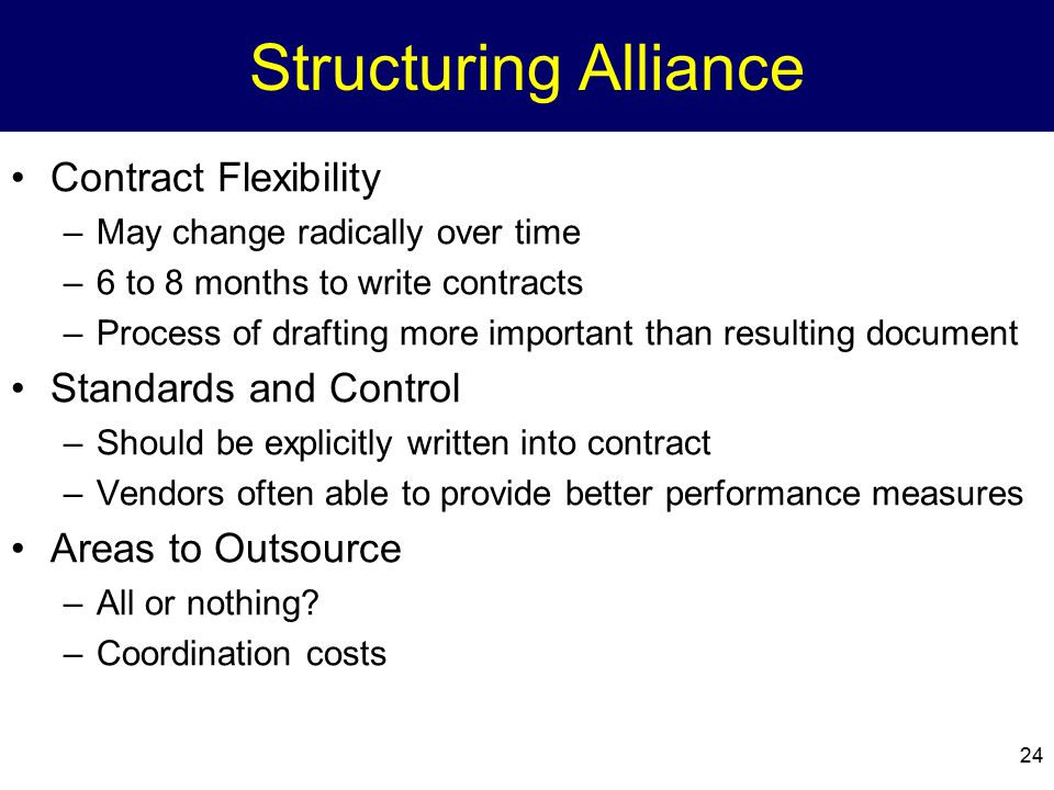 24 Structuring Alliance Contract Flexibility –May change radically over time –6 to 8 months to write contracts –Process of drafting more important tha