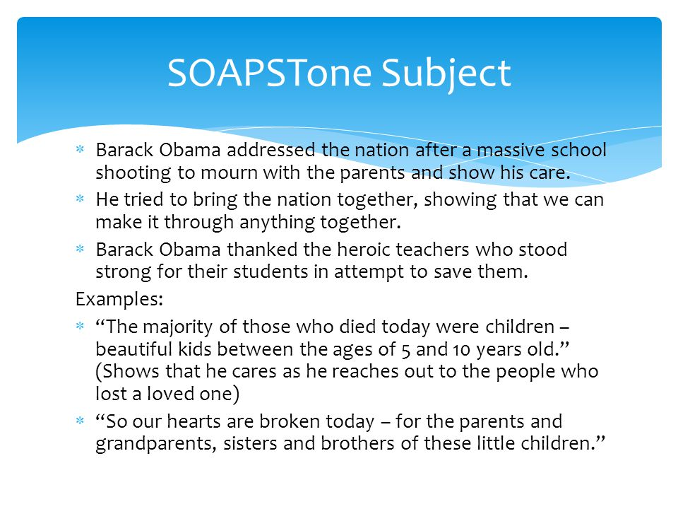  Barack Obama addressed the nation after a massive school shooting to mourn with the parents and show his care.