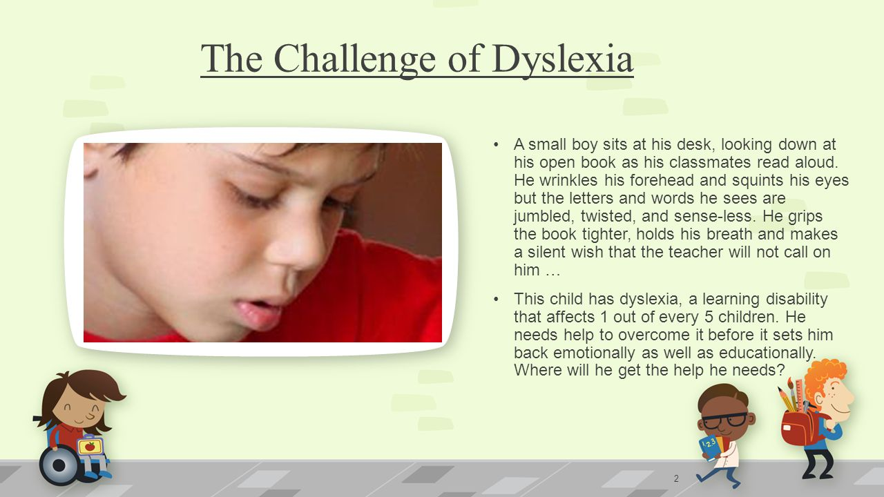 The Challenge of Dyslexia A small boy sits at his desk, looking down at his open book as his classmates read aloud.