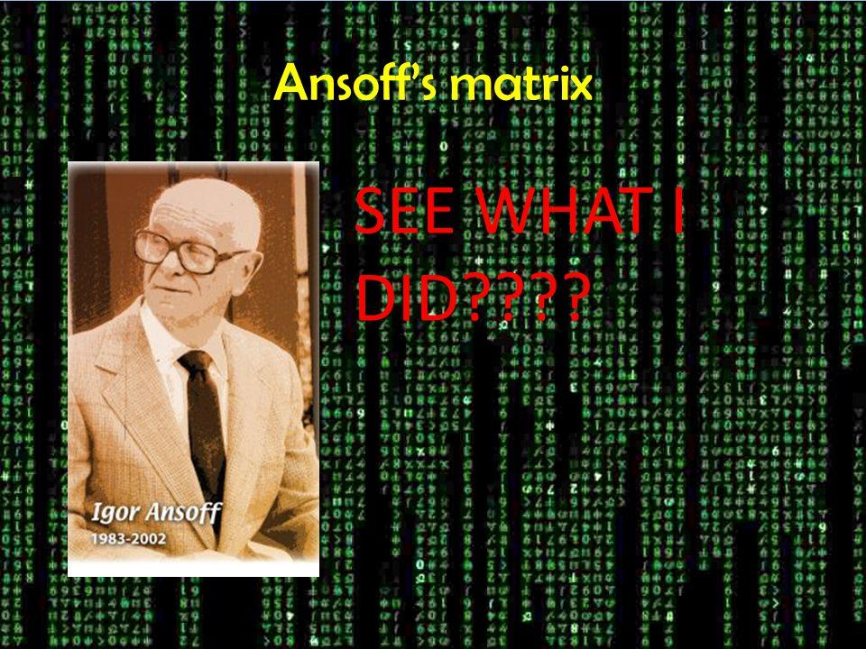 Ansoff's matrix SEE WHAT I DID