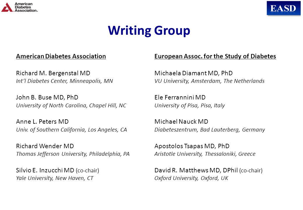 Writing Group American Diabetes Association Richard M. Bergenstal MD Int'l Diabetes Center, Minneapolis, MN John B. Buse MD, PhD University of North C
