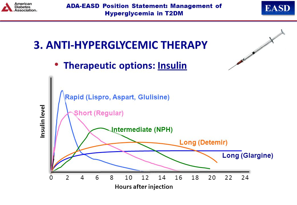 ADA-EASD Position Statement: Management of Hyperglycemia in T2DM Long (Detemir) Rapid (Lispro, Aspart, Glulisine) Hours Long (Glargine) 0 2 4 6 8 10 1