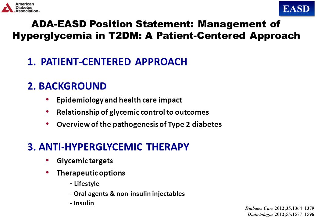 ADA-EASD Position Statement: Management of Hyperglycemia in T2DM KEY POINTS Glycemic targets & BG-lowering therapies must be individualized.