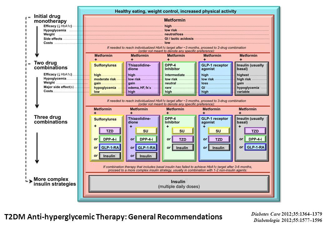 T2DM Anti-hyperglycemic Therapy: General Recommendations Diabetes Care 2012;35:1364–1379 Diabetologia 2012;55:1577–1596