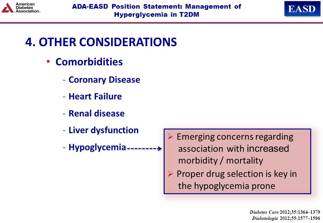 ADA-EASD Position Statement: Management of Hyperglycemia in T2DM 4. OTHER CONSIDERATIONS Comorbidities -Coronary Disease -Heart Failure -Renal disease