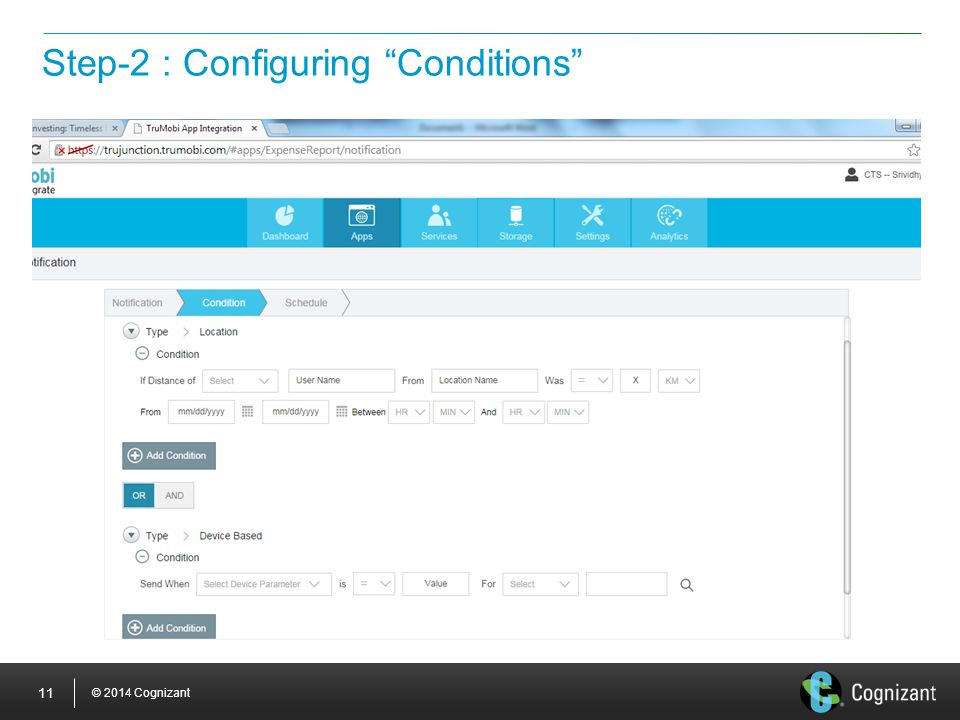 "© 2014 Cognizant 11 Step-2 : Configuring ""Conditions"""
