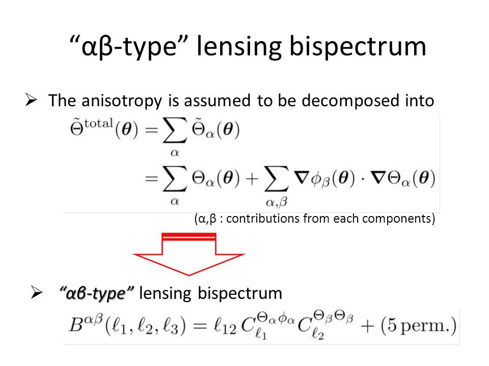 """""""αβ-type"""" lensing bispectrum  The anisotropy is assumed to be decomposed into (α,β : contributions from each components) """"αβ-type""""  """"αβ-type"""" lensin"""