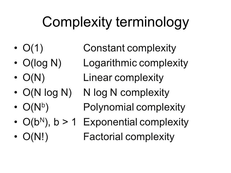 Complexity terminology O(1)Constant complexity O(log N)Logarithmic complexity O(N) Linear complexity O(N log N)N log N complexity O(N b )Polynomial co