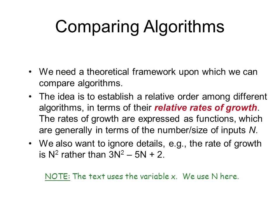 Comparing Algorithms We need a theoretical framework upon which we can compare algorithms. The idea is to establish a relative order among different a