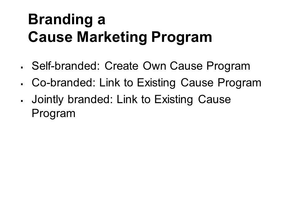 Branding a Cause Marketing Program  Self-branded: Create Own Cause Program  Co-branded: Link to Existing Cause Program  Jointly branded: Link to Ex