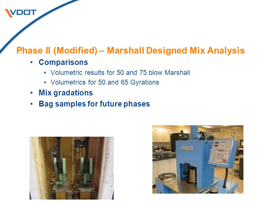 Phase II (Modified) – Marshall Designed Mix Analysis Comparisons Volumetric results for 50 and 75 blow Marshall Volumetrics for 50 and 65 Gyrations Mix gradations Bag samples for future phases