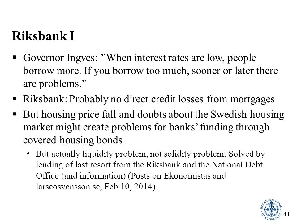 42 RiksbankIII: Households' mortgage-rate expectations are too low  Households' expectations of mortgage rates in 5 years are low compared to a normal policy rate of 4% and a normal spread But who believes in normal interest rates in 5 years.