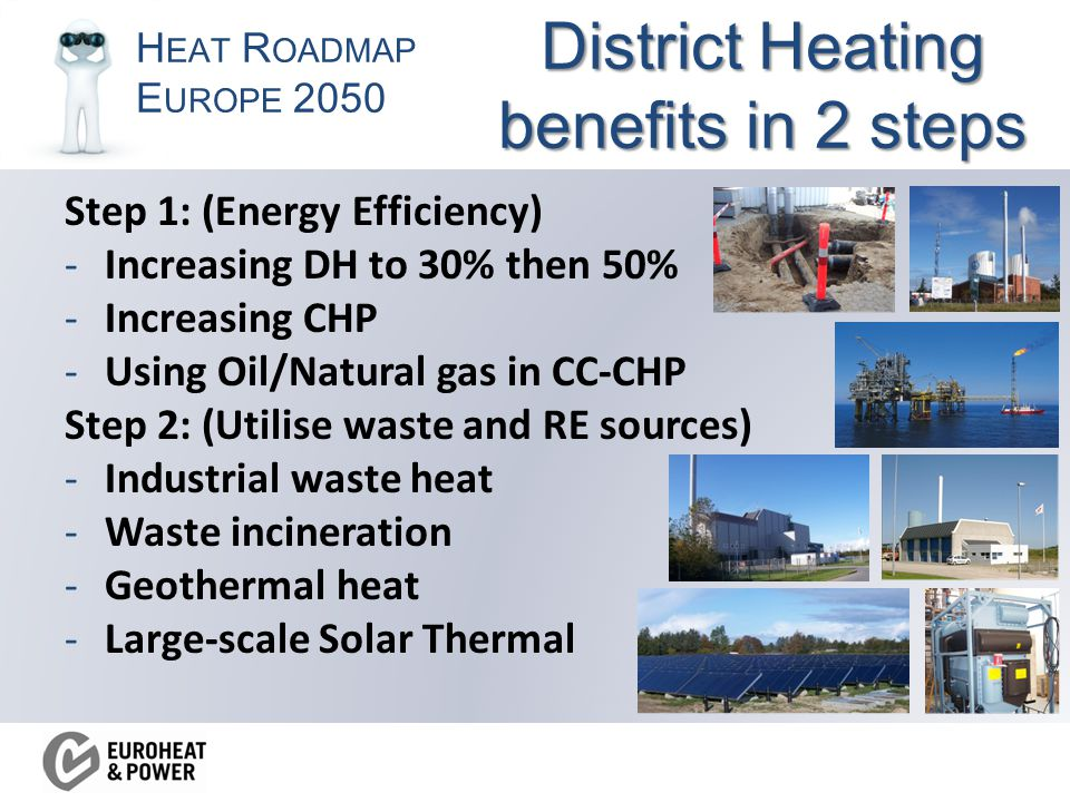 H EAT R OADMAP E UROPE 2050 District Heating benefits in 2 steps Step 1: (Energy Efficiency) -Increasing DH to 30% then 50% -Increasing CHP -Using Oil/Natural gas in CC-CHP Step 2: (Utilise waste and RE sources) -Industrial waste heat -Waste incineration -Geothermal heat -Large-scale Solar Thermal