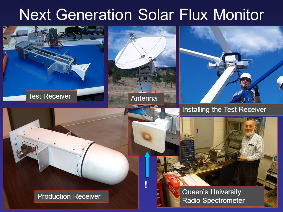 Next Generation Solar Flux Monitor Test Receiver Production Receiver Installing the Test Receiver Queen's University Radio Spectrometer Antenna !