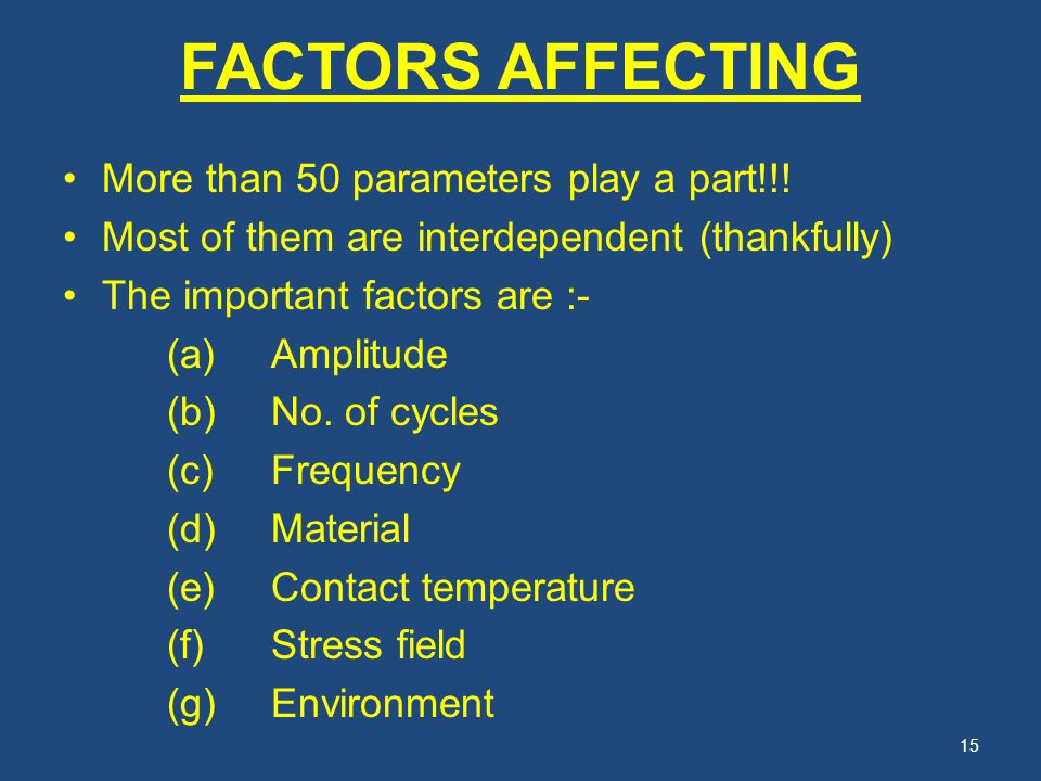 FACTORS AFFECTING More than 50 parameters play a part!!! Most of them are interdependent (thankfully) The important factors are :- (a)Amplitude (b)No.