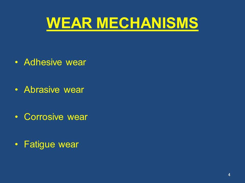 WEAR MECHANISMS Adhesive wear Abrasive wear Corrosive wear Fatigue wear 4
