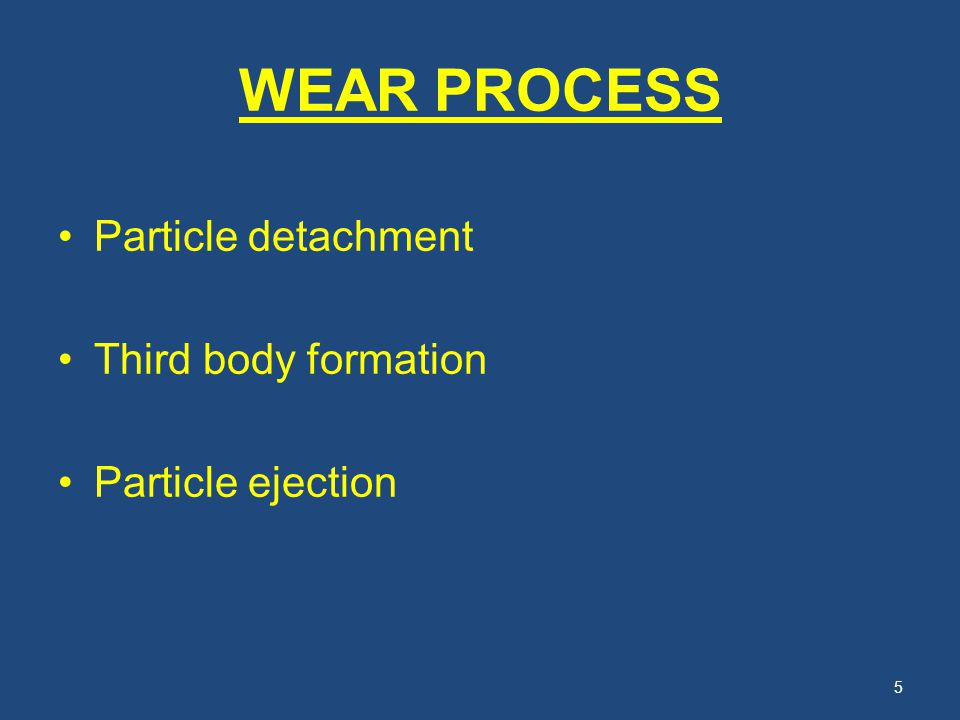WEAR PROCESS Particle detachment Third body formation Particle ejection 5