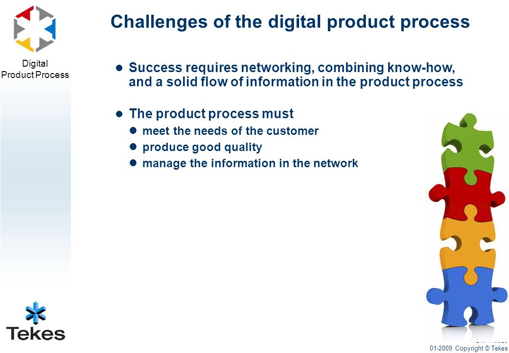 Digital Product Process Success requires networking, combining know-how, and a solid flow of information in the product process The product process must meet the needs of the customer produce good quality manage the information in the network Challenges of the digital product process DM 449929 01-2009 Copyright © Tekes