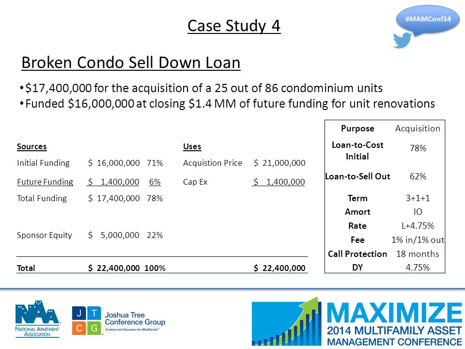 #MAMConf14 Broken Condo Sell Down Loan $17,400,000 for the acquisition of a 25 out of 86 condominium units Funded $16,000,000 at closing $1.4 MM of future funding for unit renovations SourcesUses Initial Funding $ 16,000,00071%Acquistion Price $ 21,000,000 Future Funding $ 1,400,0006%Cap Ex $ 1,400,000 Total Funding $ 17,400,00078% Sponsor Equity $ 5,000,00022% Total $ 22,400,000100% $ 22,400,000 PurposeAcquisition Loan-to-Cost Initial 78% Loan-to-Sell Out62% Term3+1+1 AmortIO RateL+4.75% Fee1% in/1% out Call Protection18 months DY4.75% Case Study 4