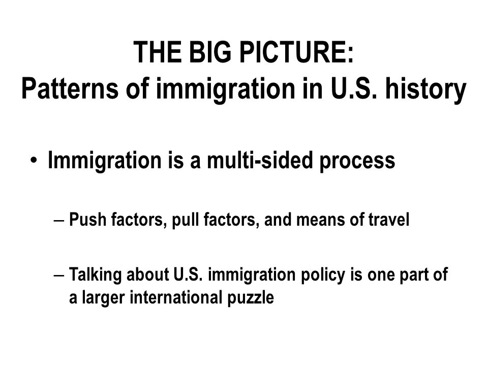 THE BIG PICTURE: Patterns of immigration in U.S.