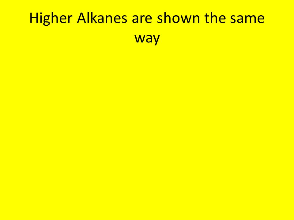 Higher Alkanes are shown the same way
