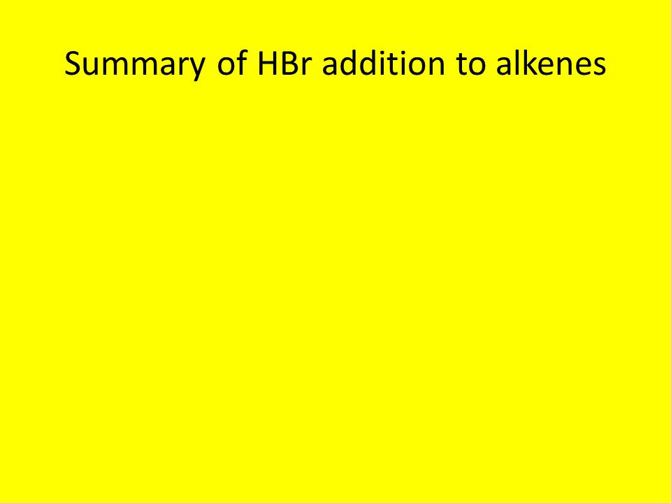Summary of HBr addition to alkenes