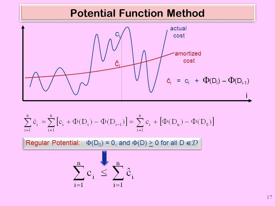 Potential Function Method ĉ i = c i +  (D i ) –  (D i-1 ) cici ĉ i actual cost amortized cost i Regular Potential:  (D 0 ) = 0, and  (D) > 0 for a