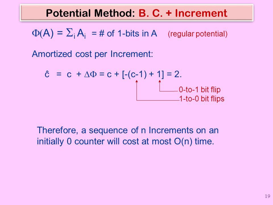 Potential Method: B. C. + Increment  A)  =  i A i = # of 1-bits in A (regular potential) Amortized cost per Increment: ĉ = c +  = c + [-(c-1) +