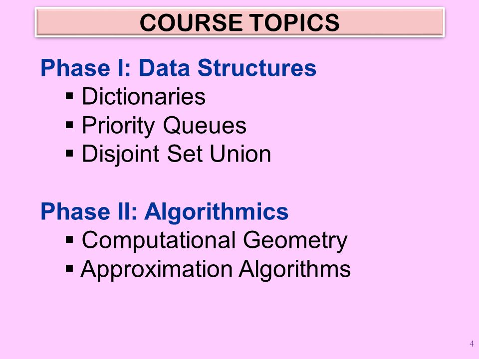 COURSE TOPICS Phase I: Data Structures  Dictionaries  Priority Queues  Disjoint Set Union Phase II: Algorithmics  Computational Geometry  Approxi