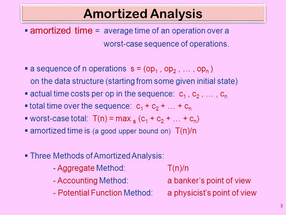 Amortized Analysis  amortized time = average time of an operation over a worst-case sequence of operations.  a sequence of n operations s = (op 1, o
