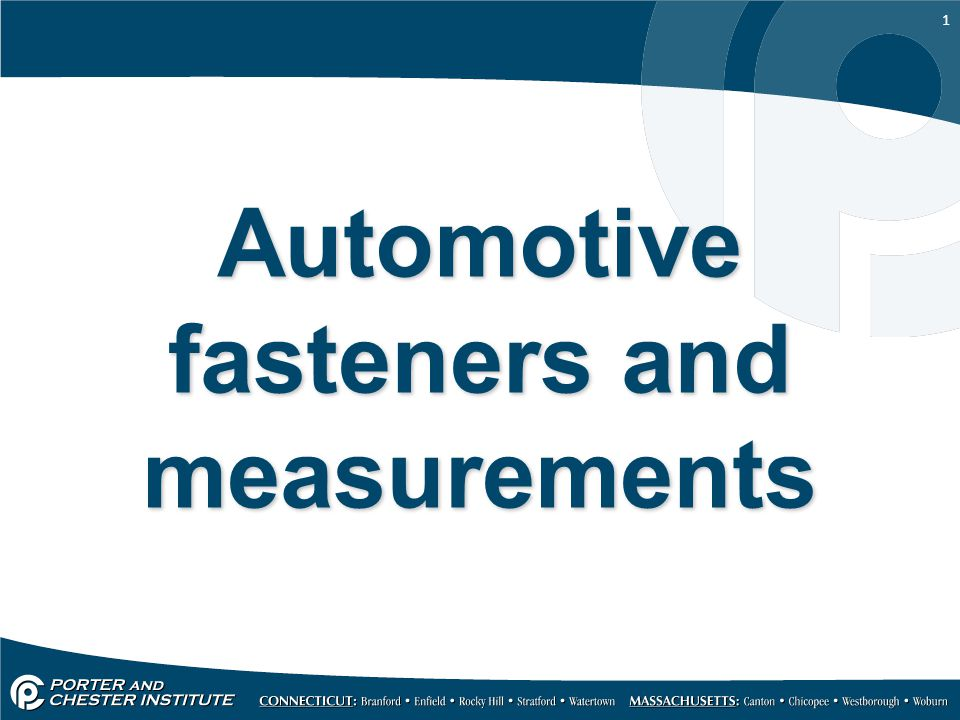 1 Automotive fasteners and measurements