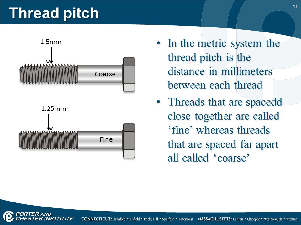 11 Thread pitch In the metric system the thread pitch is the distance in millimeters between each thread Threads that are spacedd close together are c
