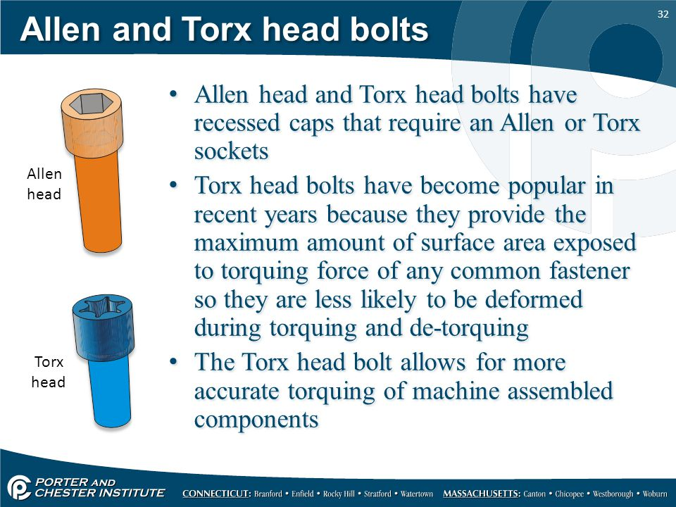 32 Allen and Torx head bolts Allen head and Torx head bolts have recessed caps that require an Allen or Torx sockets Torx head bolts have become popul