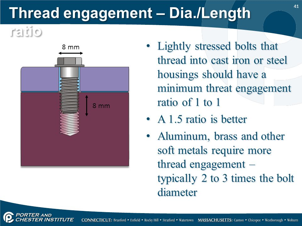 41 Thread engagement – Dia./Length ratio Lightly stressed bolts that thread into cast iron or steel housings should have a minimum threat engagement r