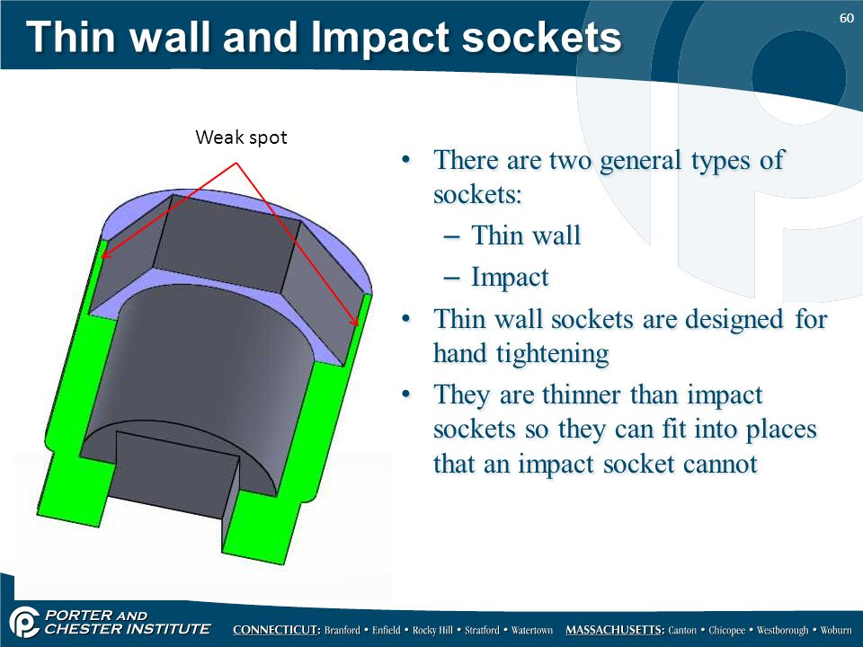 60 Thin wall and Impact sockets There are two general types of sockets: –Thin wall –Impact Thin wall sockets are designed for hand tightening They are
